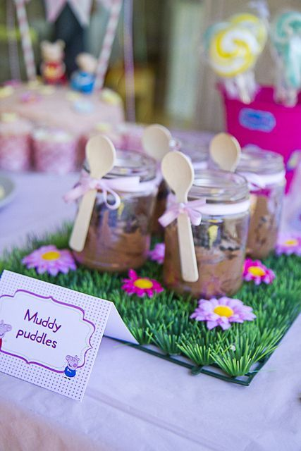 Mud pudding pots at a Peppa Pig party!  See more party ideas at CatchMyParty.com!  #pig #partyideas