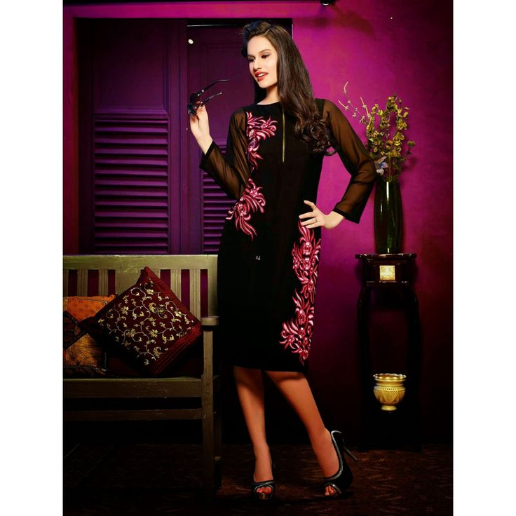 Adorable Black #Georgette #Indian #Kurti #Top #Dress #Womens #Clothing #Fashion