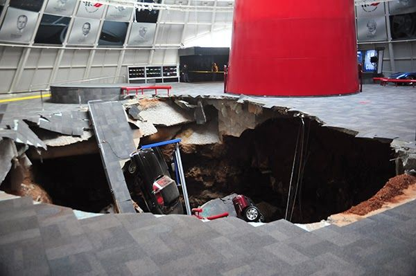 Satan Starts Car Collection With 8 Corvettes As Sinkhole Collapses Under Museum