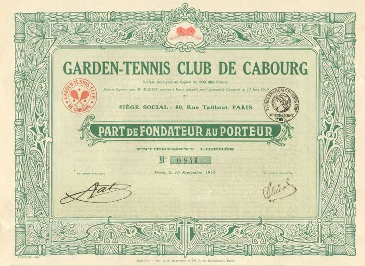 Garden-Tennis-Club-de-Cabourg-France-tennis-bond-certificate-stock-share