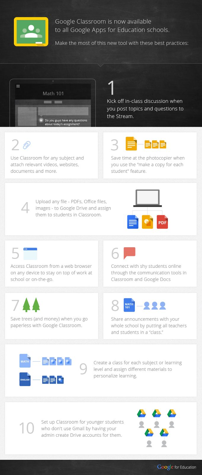 A few days ago Google added some interesting new features to Google Classroom such as group integration, exporting grades, sorting and greater teacher controls. However, today I want to share with you this infographic created by Google featuring the 10 best practices in a Google Classroom.