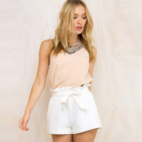 US $7.44 - 7.91 New 2016 Spring Summer Shorts Women High Waist Fashion Pleated Loose Solid Feminino Short For Women White Belt aliexpress.com