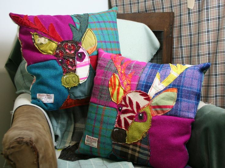 Crazy Stag Patchwork Cushion