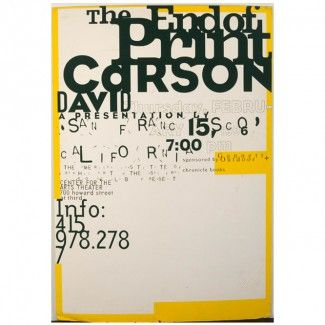 """David Carson. """"The End of Print"""" event poster. 1996."""
