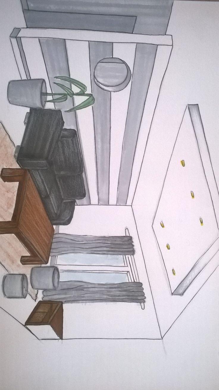Salon avec  Canapé en cuir noir bois lasurer gris blanc table en merisier t