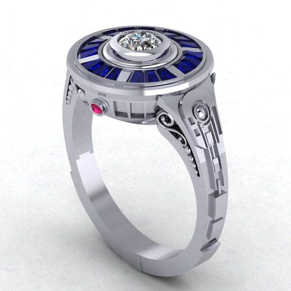 R2 Impressions in 14 Karat White Gold by PaulMichaelDesign on Etsy, $1595.00 I know I'm a geek but I want this ring soooooooooo bad!