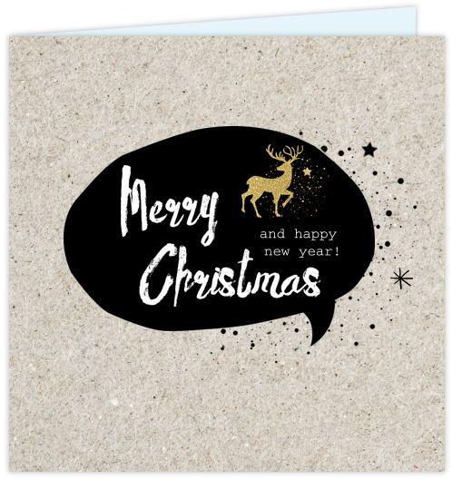 Unieke kerstkaart met kraft print op de ondergrond en zwarte tekst ballon met stoere handlettering teksten er in! Met goud glitter gekleurde kerst icoontjes.