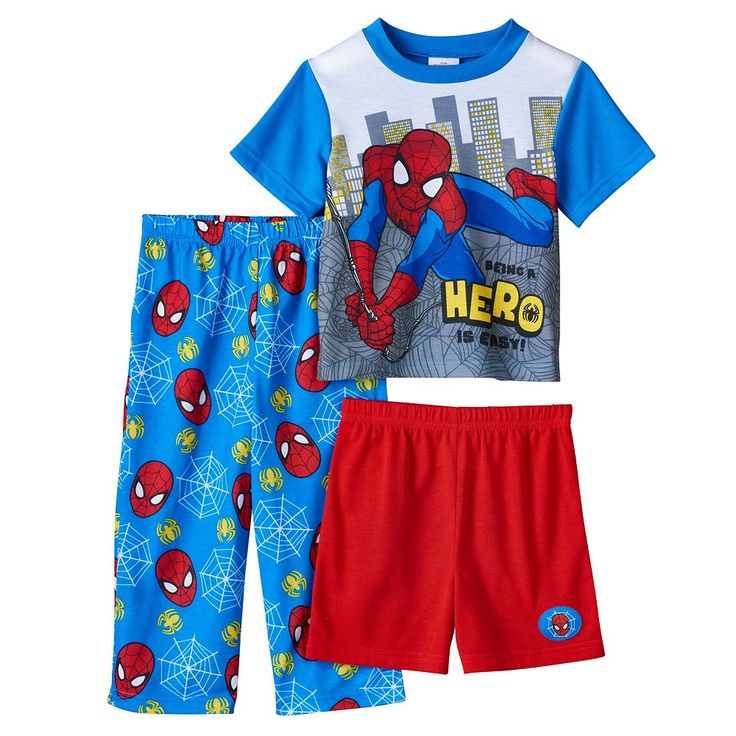 Toddler Boy Marvel Spider-Man Tee, Shorts & Pants Pajama Set, Size: 2T, Multicolor