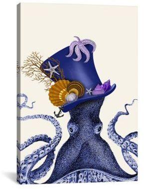 iCanvas Octopus Nautical Hat 18-Inch x 26-Inch Canvas Wall Art