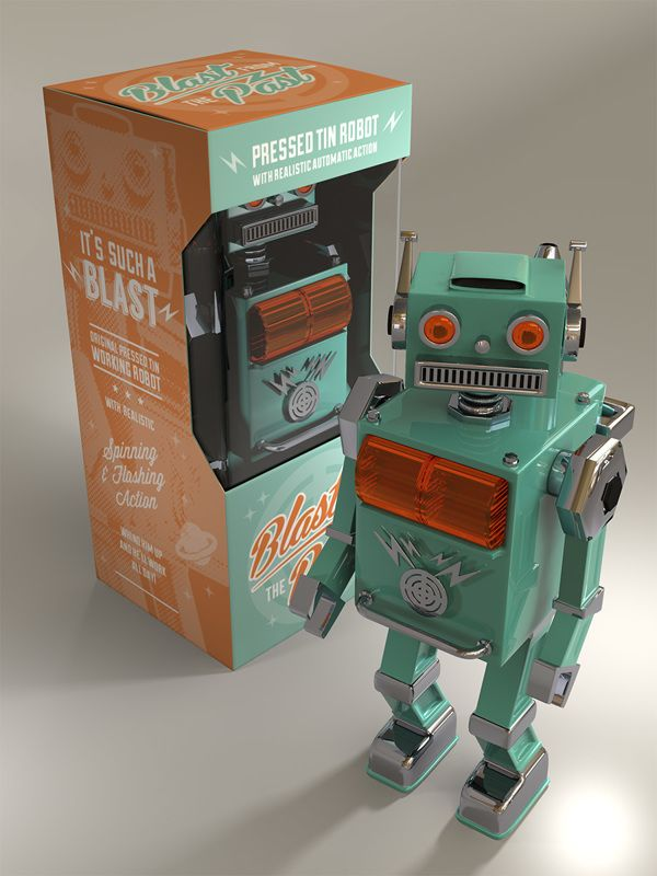 Vintage tin robot by Tom Delpech, via Behance