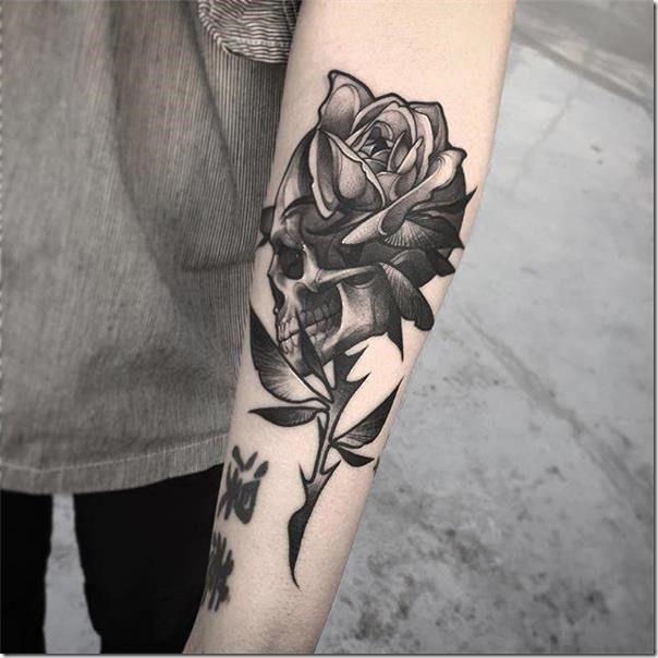 Photos Of Cranium Tattoos Skull Rose Tattoos Rose Tattoos Tattoos
