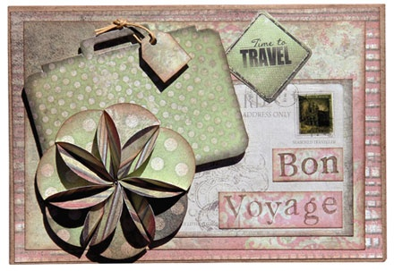 Timeless Travel Card - Flower Bon Voyage - FabScraps