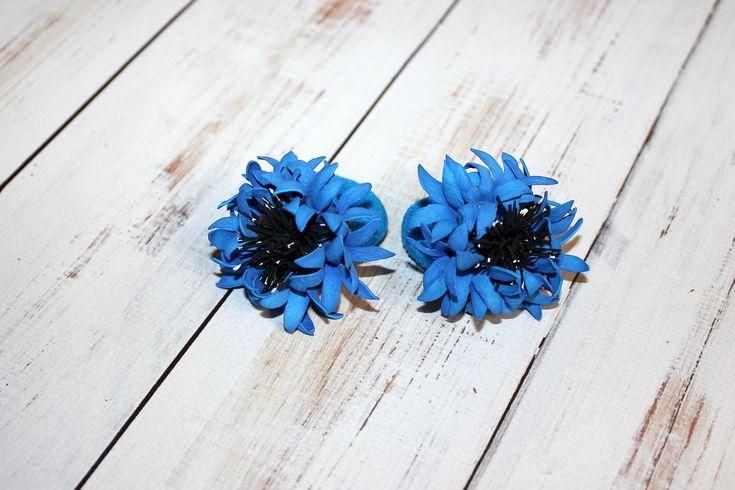 Blue Prom Flower Hair Scrunchy Bright Blue Flower Photo Prop Flower Ties Cornflowers Blue Elastic Flower Girl Hair Accessory Blue Hair Piece by TheWorldOfBeauty2015 on Etsy