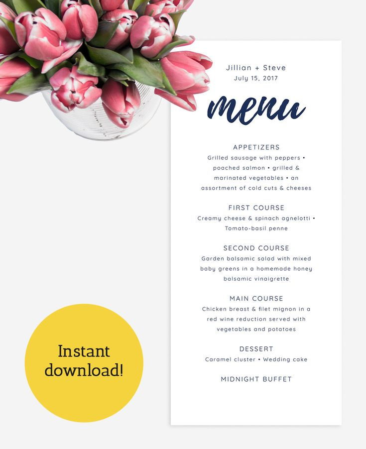 Editable Navy Wedding Menu Card Template, Modern Wedding Menu, Printable Menu, Navy Blue Dinner Menu, Custom Menu INSTANT DOWNLOAD, 4x9 http://etsy.me/2Fge7yS