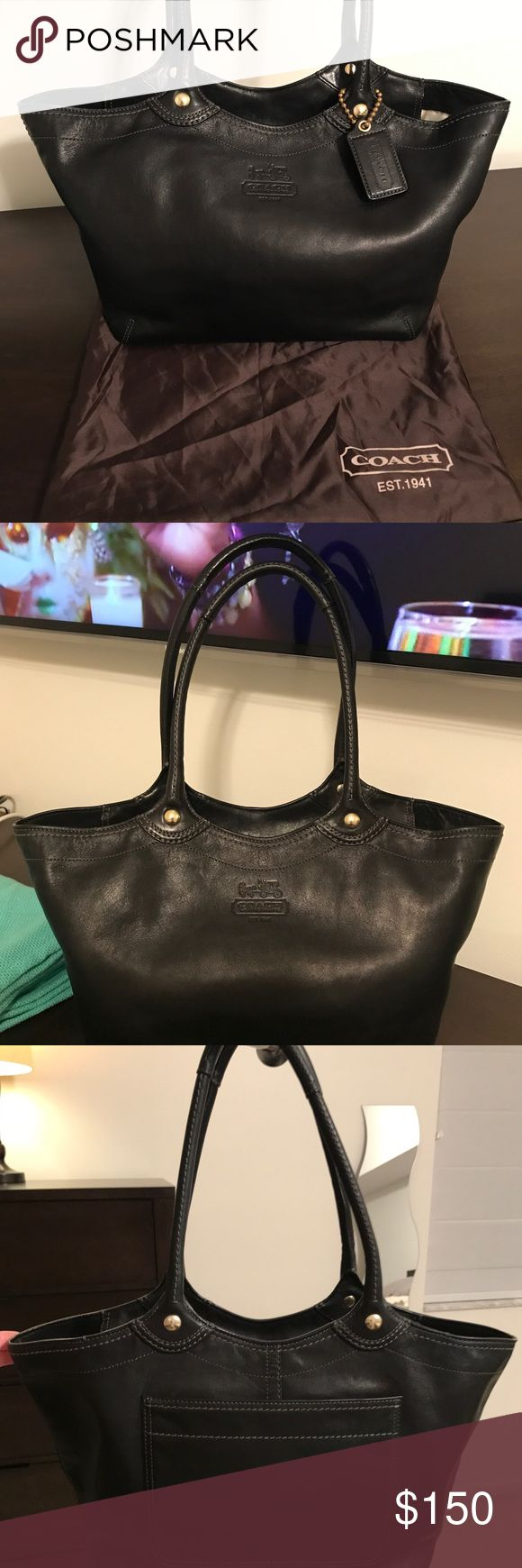 "Authentic Coach Legacy Leather Tote. Authentic Coach Legacy Leather Tote with Zip closure.....EUC. Measures: Length 11"" at the bottom up to 17.50 "" at the top.  Width 5.25"" Height 9"" Handle Top 9.5""  Will consider all offers.  Thank you for looking! Coach Bags"