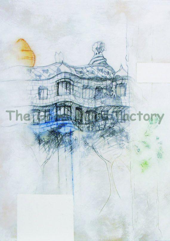 The Good Mood Factory_ La Pedrera White_ Art print Copy on paper of original