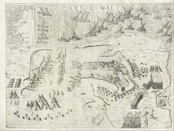 """August 17, #MaltaMapMonday and #EarlyGreatSiegeHistories continues this week with an early imprint of the siege published in Venice by Luca Bertelli. Bertelli's copy was based on earlier versions composed by Domenico Zenoi. """"Porto di Malta,"""" Venice: 1565."""