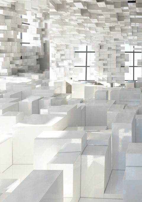 [] white cubes stacked stapel display berg