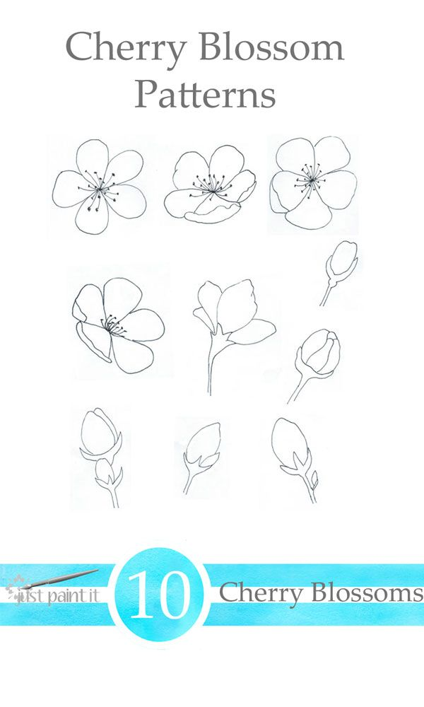 Cherry Blossom Patterns Just Paint It Blog Cherry Blossom Drawing Flower Drawing Tutorials Cherry Blossom Painting