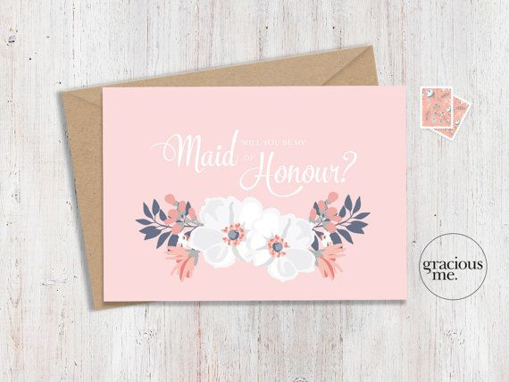 Maid of Honour Card 'Will You Be My' by GraciousMeShop