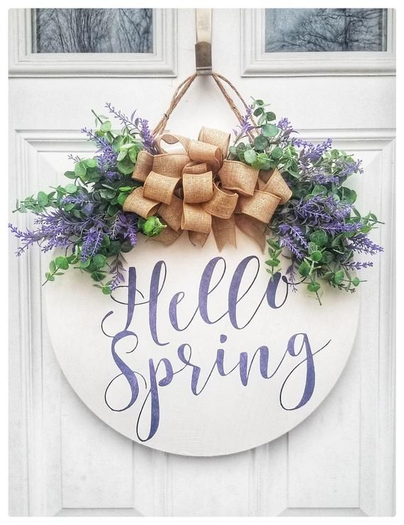 Wooden Hello Spring Door Hanger Rustic Welcome Sign Etsy In 2020 Door Decorations Welcome Signs Front Door Wooden Door Signs