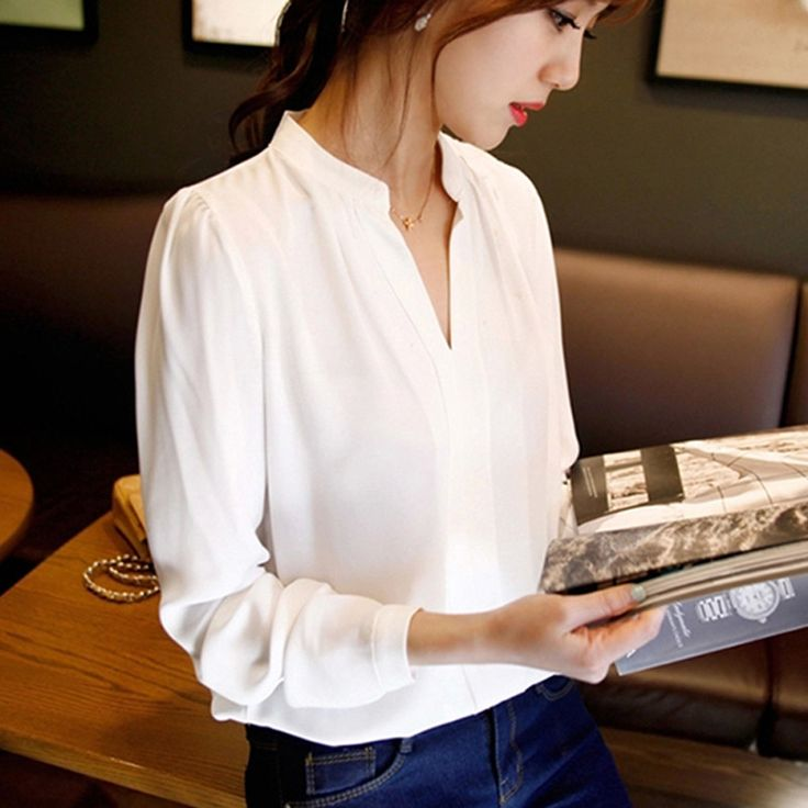 Womens Long Sleeve, chiffon blouse with elegant v-neck - love how this looks like it strikes the perfect balance of elegant, professional, and comfortable. Loving the collar.
