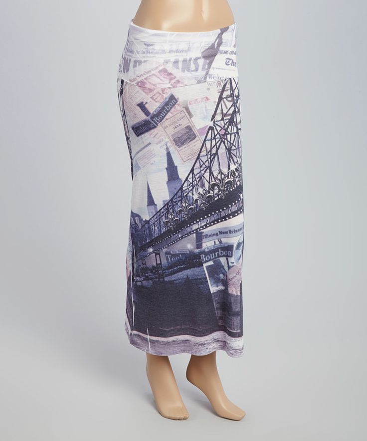 Look at this Gray Bourbon Street Fold-Over Maxi Skirt on #zulily today!