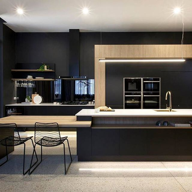 Could this kitchen be any more chic? That black paint with one of our newest colors, Cosmopolitan White, and a gold faucet. Wow. Freedom Kitchens on Australia's renovation show, The Block!