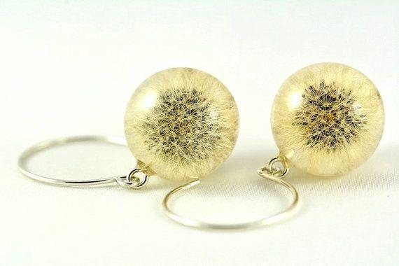 Dandelion Earrings, Dandelion Jewelry, Silver Jewelry, Resin Jewelry, mouseear hawkweed (Hieracium Pilosella) Earrings, Delicate Earrings  Oryginal