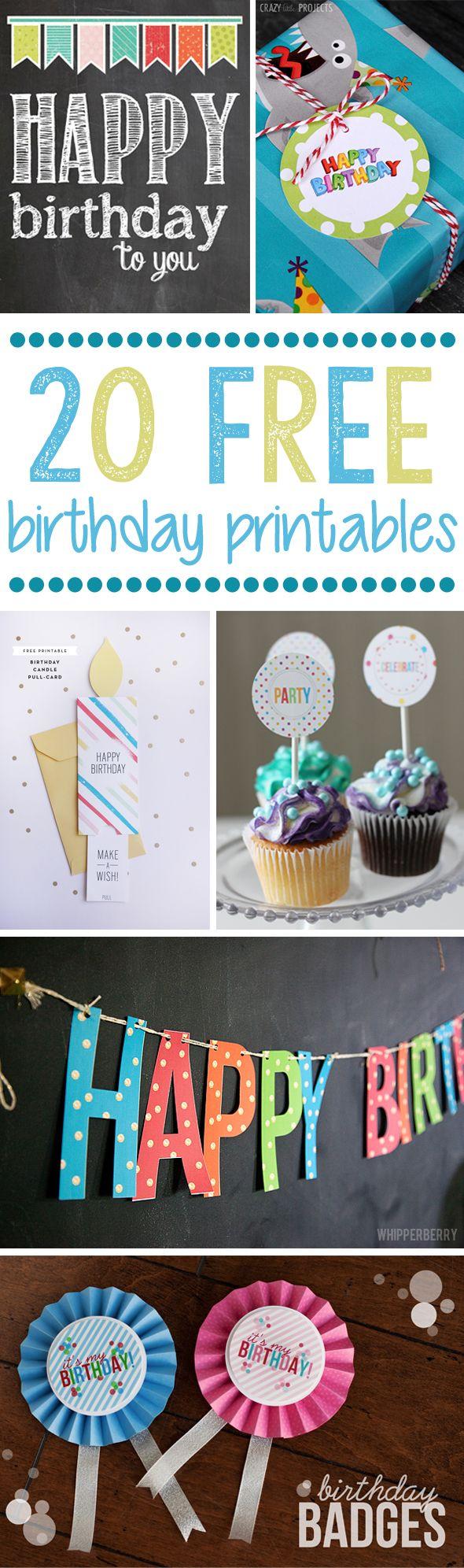 20 Free Birthday Printables - Pretty My Party #free #birthday #printables