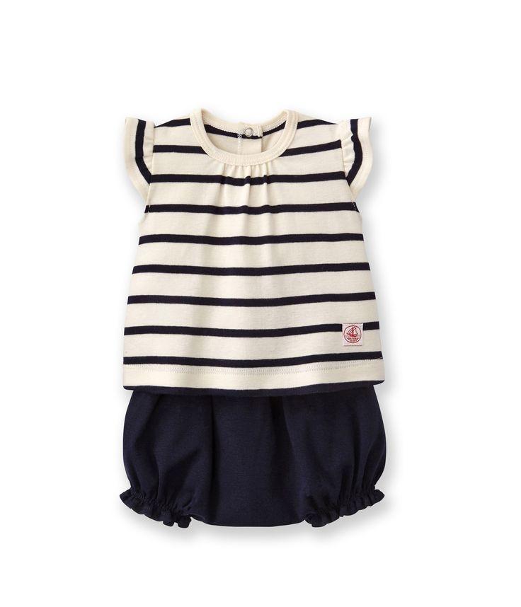Ensemble bébé fille guimpe rayée et bloomer uni beige Coquille / bleu Abysse (Petit bateau).