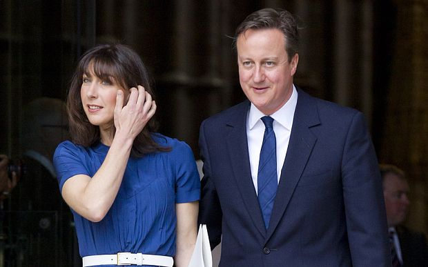 David Cameron and his wife Samantha leave after attending a service of national thanksgiving to mark  anniversary of VE Day