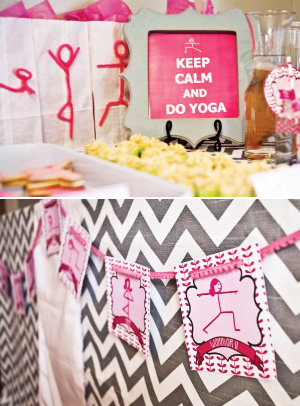 Peaceful & Pink Mother Daughter Yoga Party: Cute Banner and Keep Calm Sign