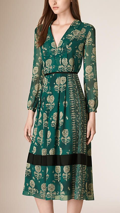 Teal Blue Floral Print Silk A-line Dress  - Burberry, 2015.