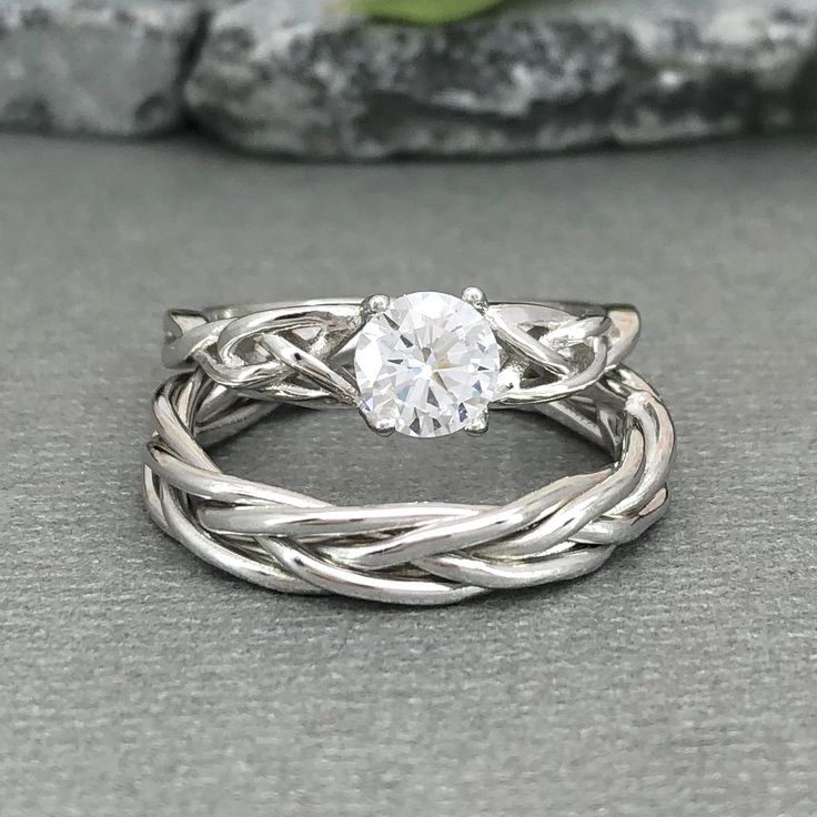 Celtic Round Diamond Simulated Wedding Ring Set Trinity Braided Celtic Engagement Band 925 Sterling Silver 2PC Ring Set
