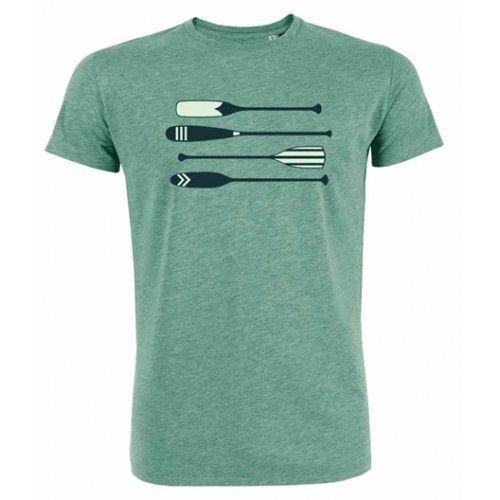 """T-shirt """"Peddels"""" groen gemêleerd. Label Greenbomb, shirt 100% biologisch katoen."""