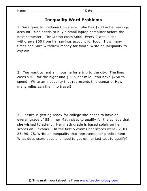 Worksheets Systems Of Inequalities Word Problems Worksheet 34 best images about inequalities on pinterest activities word problems with answers