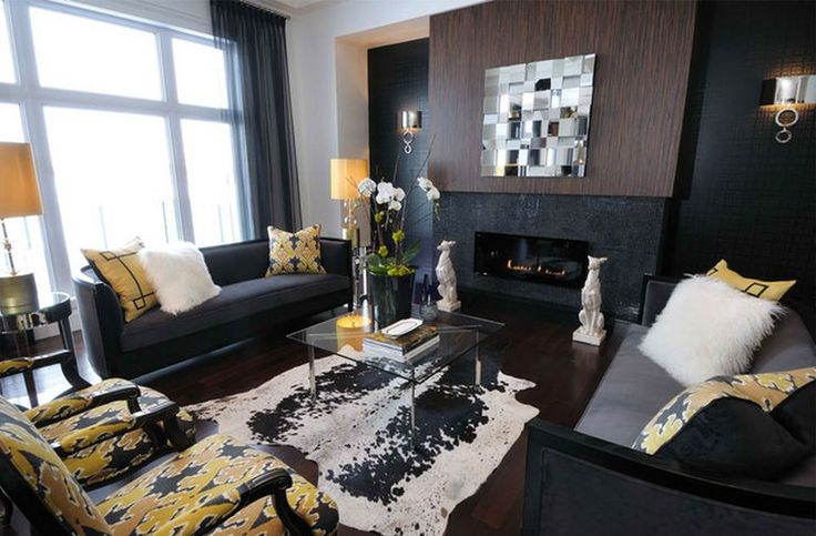 Yellow Chairs Plan Applied In Black Color Schemed Interior Design Ideas With Black Sofas Set And Fireplace In Black: Interesting Black Sofas Appearance In Eye-catching Living Room