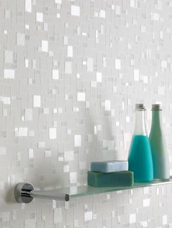 Great wallpaper idea to give your bathroom a little something :)