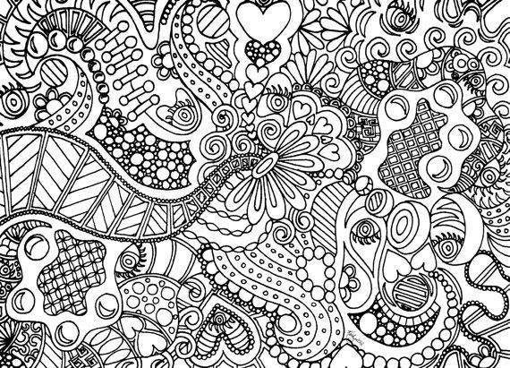 instant download coloring page hand drawn zentangle inspired eye spy abstract zendoodle doodle