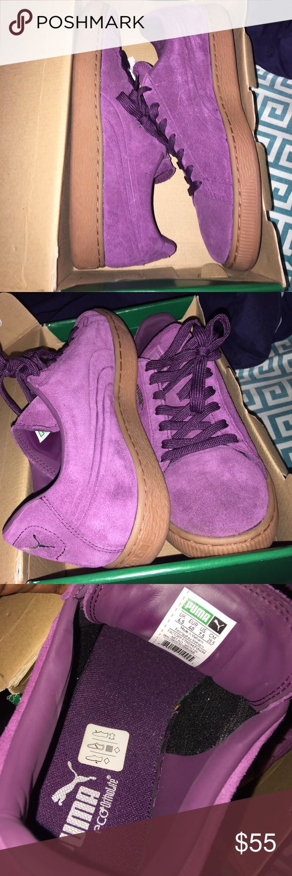 Plum Suede Puma sneakers ! Men's size 7.5. Plum color, gum sole, suede, bought for $65, but willing to accept $55. Worn once, literally. They're too big for me. Puma Shoes Sneakers