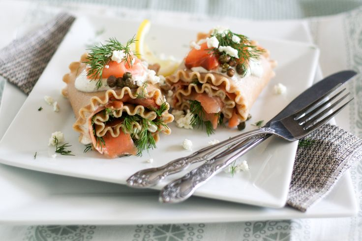 Smoked Salmon Lasagna Rolls - The Healthy Foodie