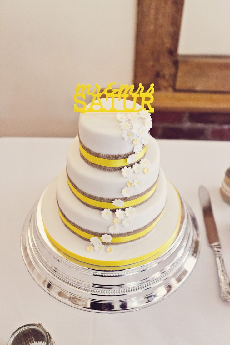Grey And Yellow Cake By Claire Penn Photography Rock My Wedding