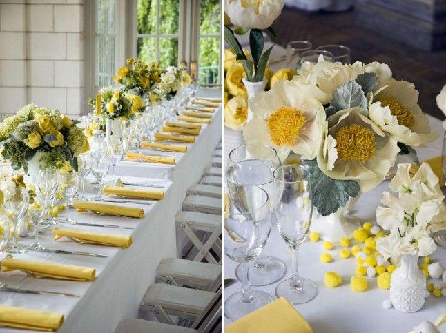 Déco de table en jaune..........