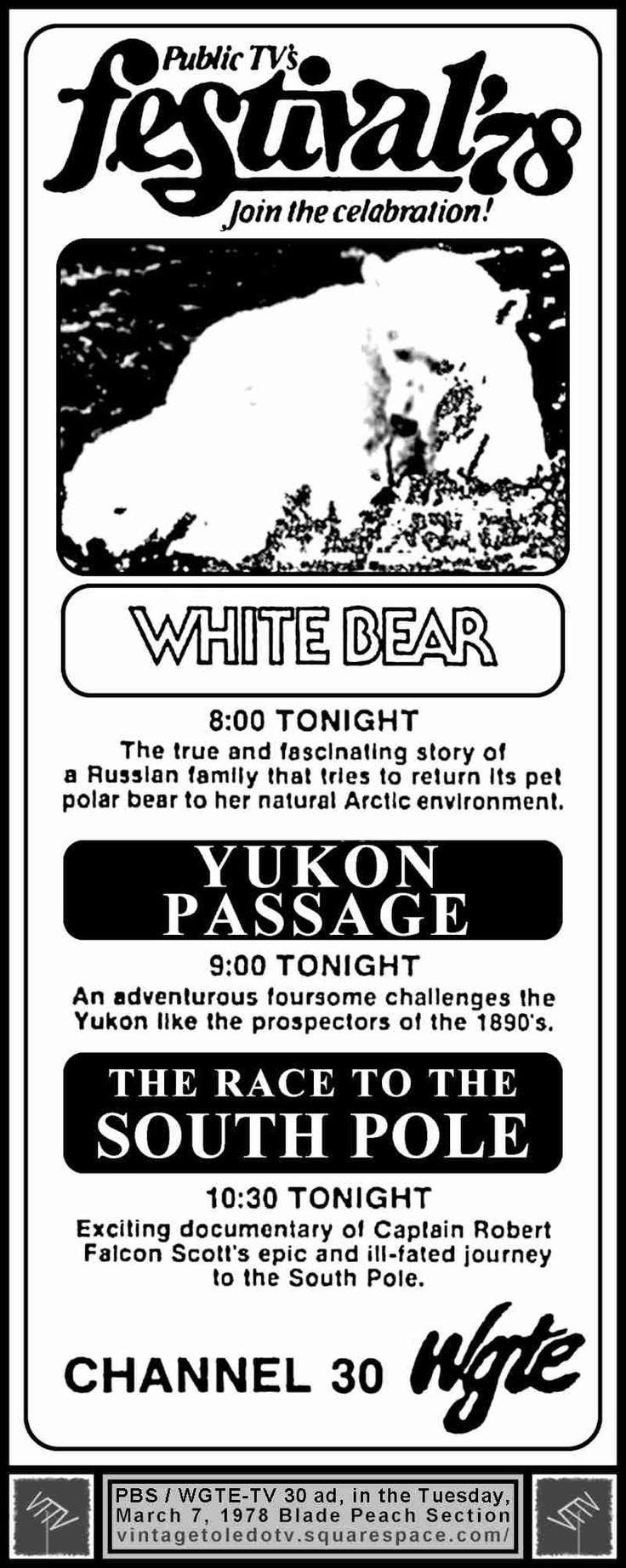 Vintage Toledo TV - PBS Ads (WBGU, WGTE, WTVS) - Festival '78 Tuesday Night Shows (3/7/78)