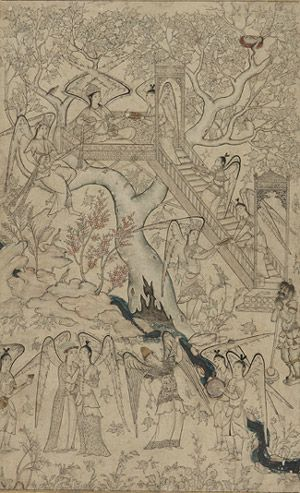 Album page: The Garden of Heavenly Creatures mid-16th century Safavid period Ink, color wash, and gold on paper H: 27.9 W: 17.2 cm Probably Iran Purchase F1950.2 Freer-Sackler | The Smithsonian's Museums of Asian Art