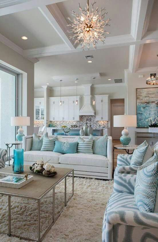 Coffered ceiling White and aqua teal , fresh, white living room furniture, modern, transitional, blue chairs