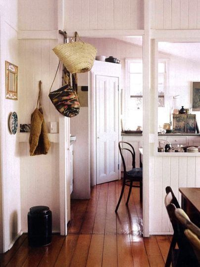 White Painted Wood Paneling for kitchen/entrance