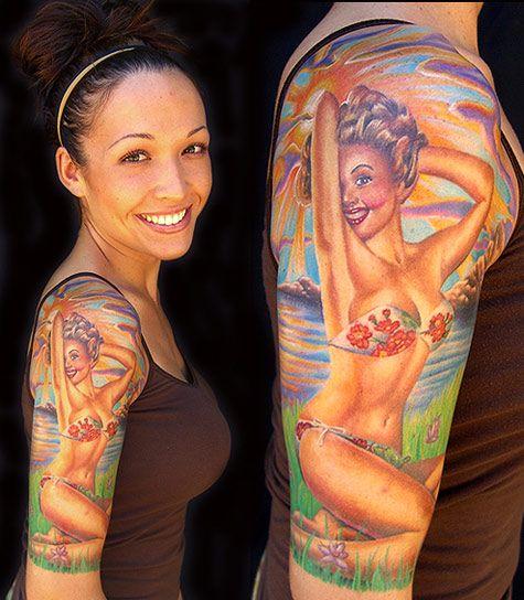 pin-up girl tattoo: Tattoo Ideas, Sleeve Tattoo, Girls Tattoo, Art Tattoo, Body Art, Tattoo Design, Pin Up Tattoo, Pinup Tattoo, Pin Up Girls