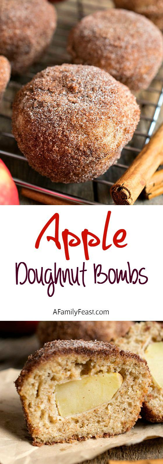 Apple Doughnut Bombs - Light and delicious apple cinnamon topped doughnuts with a sweet apple surprise inside!